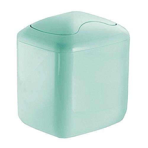 mDesign Cubo de basura - Contenedor basura de plástico color verde menta con...