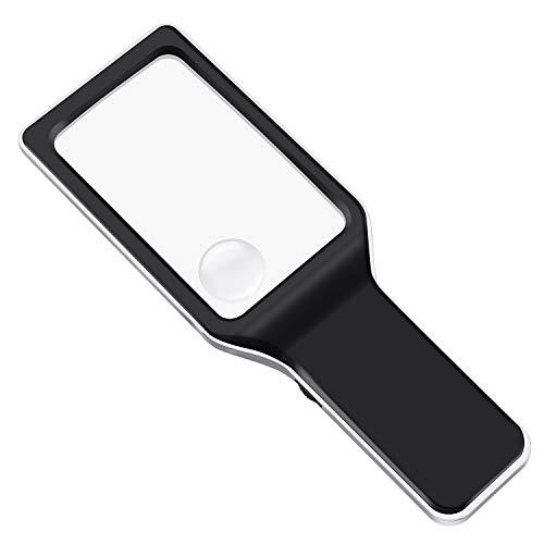 E-More LED-beleuchtetes Vergrößerungsglas 3X & 6X Rechteckige Lupe Handheld-Lesebrille Verzerrungsfreie Brille für Senioren, Sehschwäche, Bücher, Zeitschriften, Zeitungen und Karten -