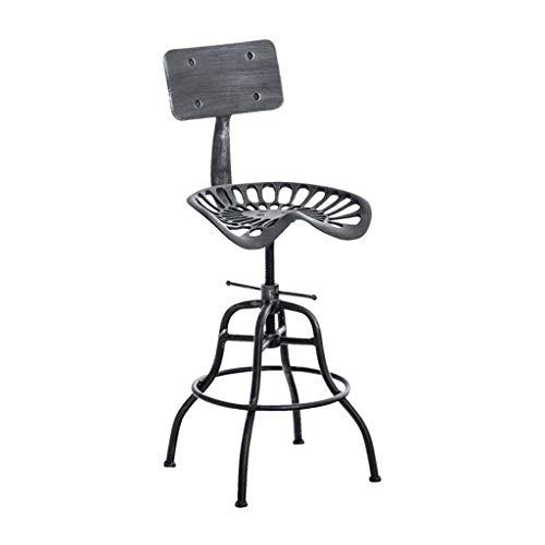 MYS C-K-P Barhocker, Retro-Metallstuhl im industriellen Stil mit verstellbarem Sitz schwarz -