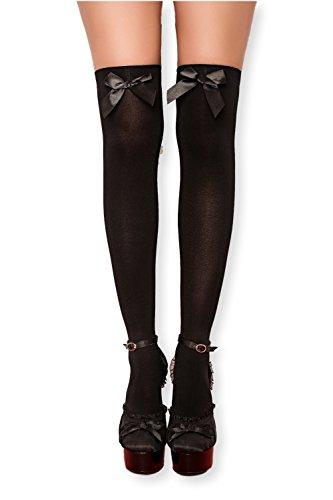 Kniestrümpfe Overknee Strümpfe socks hohe Socken Überkniestrümpfe mit Streifen Schleife für...