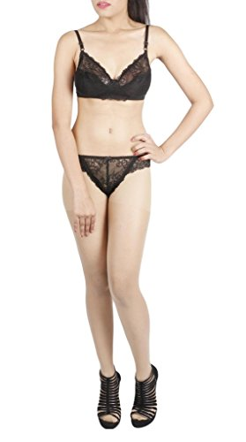 LITTLE LACY World's Best EMO & Rasal Lycra Full Cup Designer Bra & Panty Set ( Fairy_6_Black_30B)  available at amazon for Rs.405