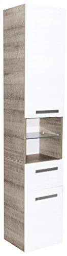 FACKELMANN Hochschrank A-VERO/gedämpfte Scharniere und Soft-Close-System/Maße (B x H x T): ca. 35 x 179 x 31,5 cm/hochwertiger Schrank fürs Badezimmer/Korpus: Braun hell/Front: Weiß