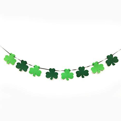 Day Kleeblatt Klee Garland Ribbon Banner Party Supplies Dekoration Foto Hintergrund (Color : Glass Green+Dark Green) ()