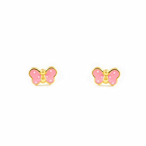Monde Petit T1663P - Pendientes de bebe/niña oro 18 kts. mariposa esm