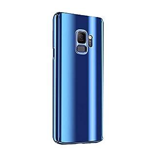 Fantasyqi Kompatible mit Galaxy J7 2017 / J730 2017 / J730F / J7 Pro Hülle Mirror Ultra Dünner Überzug PC Harte Handyhülle 360 Grad Ganzkörper Schützend Anti-Kratze Mode Glänzend Spiegeln(Blau)