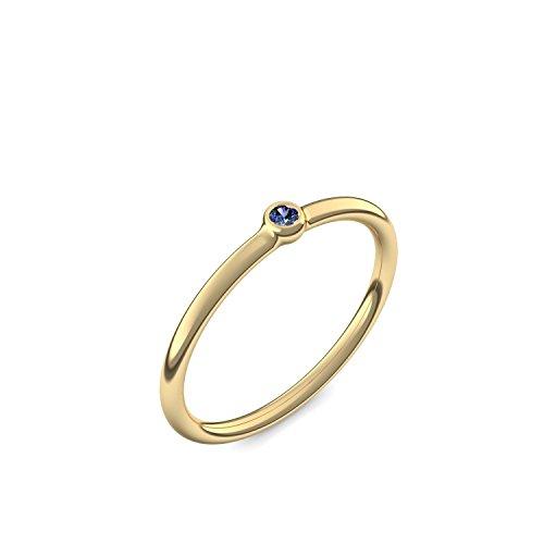 Goldring Saphir 585 + inkl. Luxusetui + Saphir Ring Gold Saphirring Gold (Gelbgold 585) - Slick one Amoonic Schmuck Größe 56 (17.8) KA11 GG585SAFA56 (Saphir-gold-ring)