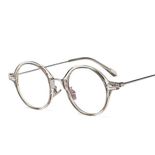 WULE-RYP Polarisierte Sonnenbrille mit UV-Schutz Einfache Persönlichkeit runde Flache Brille mit klarer Linse, Vintage Geek Eyelasses Männer und Frauen Superleichtes Rahmen-Fischen, das Golf fährt