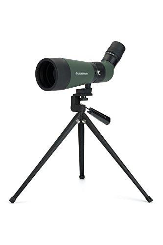 Celestron LandScout - Telescopio terrestre (12-36x aumentos, 60mm de diámetro, 18-14 mm de Distancia Ocular y inclinación de 45 Grados) Color Verde y Negro