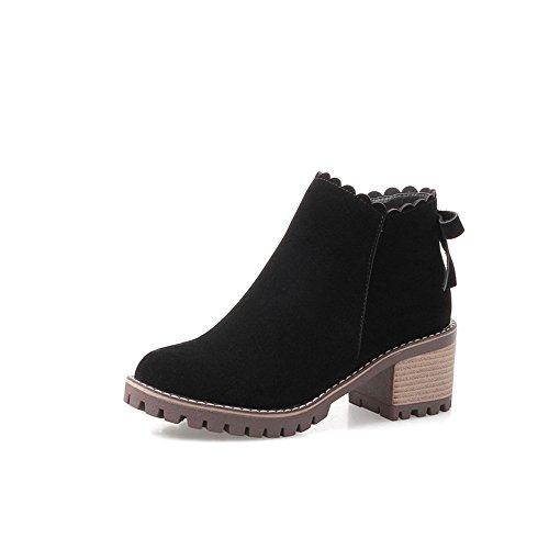 HAIZHEN  Stivaletto Stivali da donna Comfort Autunno Inverno PU camoscio Casual Low Heel l colore Beige / Black2.16in Per 18-40 anni ( Colore : Beige , dimensioni : EU40/UK7/CN41 ) Nero