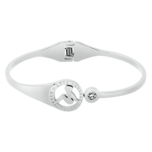 Adisaer Edelstahl Armband Damen Silber Qualitativ Hochwertige Polieren Armreifen Paar Armbänder Länge17CM Punk Gothic (80er Kostüm Paar Einfach)