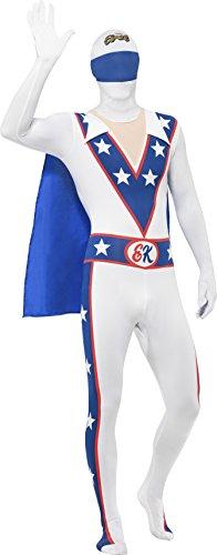 Smiffys, Herren Second Skin Evel Knievel Kostüm, Ganzkörperanzug mit Bauchtasche und Cape, Größe: M, (Kostüme Evel Für Knievel Halloween)