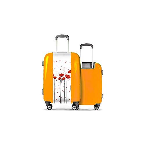 Valise CALIBAG (Taille L) Grands Coquelicots Orange