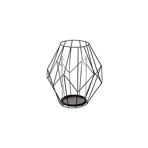 Atmosphera-Portavelas geométrica Negro Hilo metálico