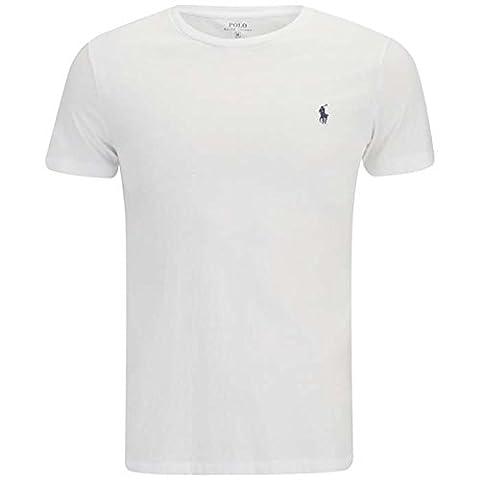 Ralph Lauren T-shirt à col ras du cou et manches courtes pour homme Coupe ajustée, Coton, Blanc,