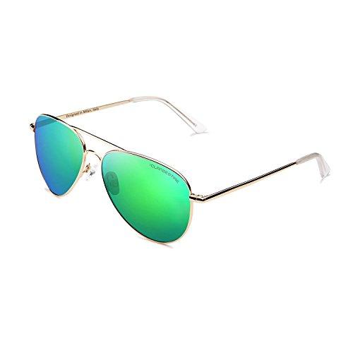 CLANDESTINE Gold Green - Gafas de Sol de Nylon HD de Hombre & Mujer