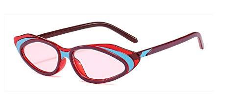 ZJMIYJ Sonnenbrillen Crystal Cat Eye Sonnenbrille Frauen Streifen Sonnenbrille Männer Frauen Brillen mit kleinem Rahmen Rot Rosa Blau