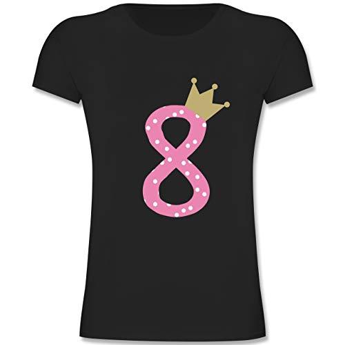 Geburtstag Kind - 8. Geburtstag Krone Mädchen Achter - 128 (7-8 Jahre) - Schwarz - F131K - Mädchen Kinder T-Shirt -