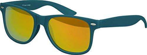 Balinco Hochwertige Nerd Sonnenbrille Rubber im Wayfarer Stil Retro Vintage Unisex Brille mit Federscharnier - 96 verschiedene Farben/Modelle wählbar (Dunkelblau/Grün - Rot/Orange verspiegelt)