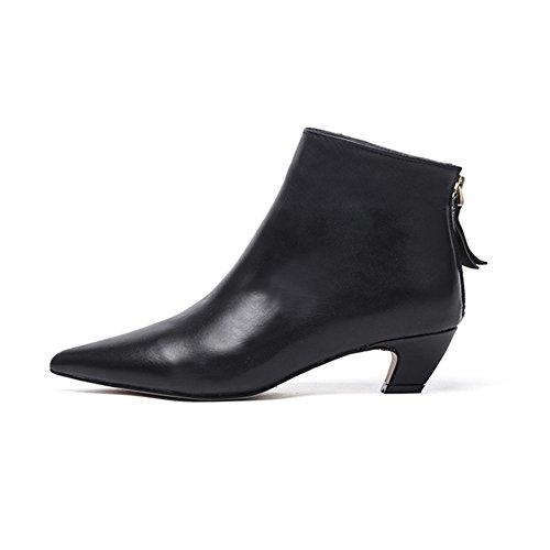 Damen Stiefeletten Schwarz Mit Niedriger Absatz Frauen Sexy Schwarz Kurzschaft Stiefel Leder Ankle Boots Spitz Blockabsatz Schuhe(42,Schwarz Glatteleder)