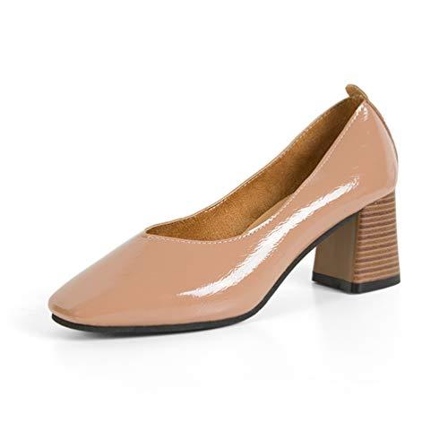 Frauen Quadrat Heel High Heels Lackleder Schuhe Square Toe Pumps Kleid Court Shoes