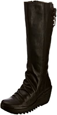 Fly London Women's Yust Leather Black Leather Platforms Boots P500327007 8 UK
