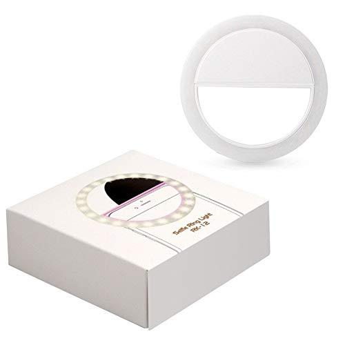 Qiong YaoTIAN Nachtlicht Tragbare ring led-blitzkamera clip telefon selbstauslöser nacht verbesserte licht nacht party schönheit foto lampe (Color : Battery-White) -