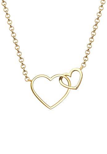 Elli Damen-Halskette mit Anhänger Herz Unendlichkeit Liebe Love Heart vergoldet silber 925 0112390216_45 - 45cm Länge