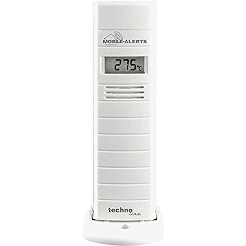 Mobile Alerts Zusatzsensor MA 10200 - Thermo - Hygro-Sensor mit Datenübertragung auf das Smartphone, mit Alexa kompatibel, Temperatur- und Luftfeuchteüberwachung, 9 x 7 x 18 cm -