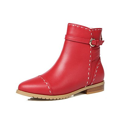 Women's Boots Comfort Cowhide Fall Winter Office &Career Athletic Casual Hiking Fashion Boots Bootie Buckle Zipper Low HeelRed Beige,Ruby,US9.5-10 / EU41 / UK7.5-8 / CN42