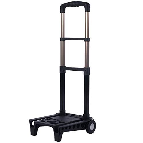 Handwagen Trolley Faltbare Schwarz Kleine Cart Home Tragbare Warenkorb Multifunktions Mini Gepäckwagen Aluminiumlegierung Trolley 1,4 kg (Color : Black, Size : 26 * 10 * 46cm) (Klapp-wagen Original)