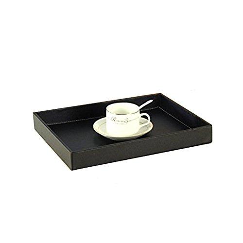 hensych Leder Schreibtisch Tablett Serviertablett Ablage für Allerlei für Fruits Caddys Tassen und Flaschen, schwarz, Large