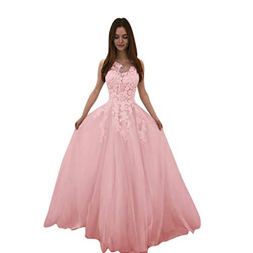 POIUDE Damen Rückenfrei Spitze Tüll Abendkleid Lang Ballkleid Hochzeit Brautjungfernkleid mit Träger(Rosa, XXL)