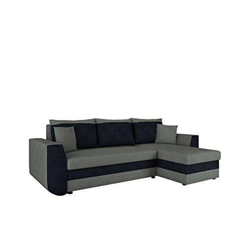 Mirjan24  Ecksofa Sena, Eckcouch mit Zwei Bettkasten, Couch L-Form Sofa, Farbauswahl, Schlaffunktion, Bettfunktion, Wohnlandschaft, Seite Universal, vom Hersteller (Alova 10 + Alova 04)
