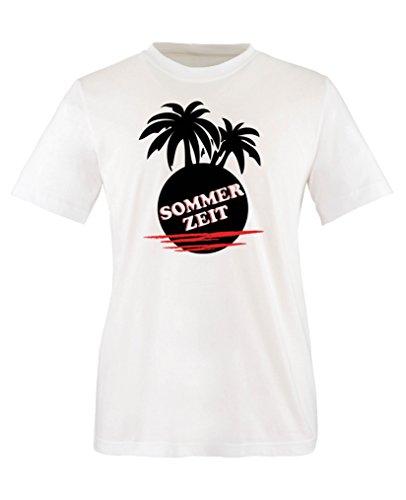 Geschichte Mädchen T-shirt (Comedy Shirts - Sommerzeit Palmen - Mädchen T-Shirt - Weiss/Schwarz-Rot Gr. 152/164)