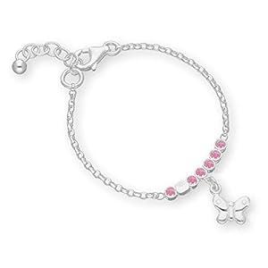 butterfly Mädchen Silberarmband Silber Schmetterling Rosa Länge Flexibel Geschenkverpackung Geburt Geschenk