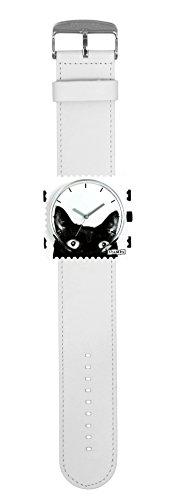 S.T.A.M.P.S. Stamps Uhr KOMPLETT - Zifferblatt Cat Woman mit Lederarmband classic weiß