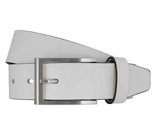 LLOYD Men's Belts Gürtel Herrengürtel Vollrindledergürtel mit Kontrastkanten Weiß 7185, Länge:115, Farbe:Weiß