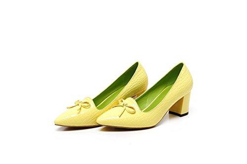Schuhe Damen Gelb Leder Zehe Pu Allhqfashion Mittler Pumps Spitz Ziehen Auf Rein Absatz T1qfPw