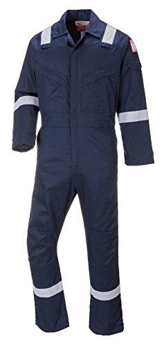 Hohe Sichtbarkeit Overall (Portwest Bizflame antistatisch Flammschutzmittel Hohe Sichtbarkeit Kniepolster Overall Boiler Anzug, orange oder Navy Gr. Medium (102 cm/ 104 cm Brust) Regulär (79 cm) Bein, Navy)