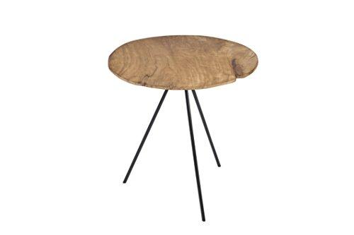 Pirouette Table d'Appoint en Teck Pieds en Métal, Bois, Bois Naturel-Métal, 55 x 55 x 55 cm