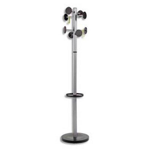 Visiodirect Portemanteaux en métal gris et ABS, 8 patères-galets et porte-papapluie -PEGANE-