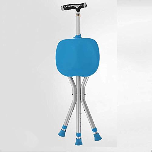 Leaf&Y LED Faltstock Hocker, Aluminium Cane Hocker Cane Hocker Three Feet Zuverlässige Cane Hocker Stuhl T-Griff Blau Multi-Funktions-Krücken -
