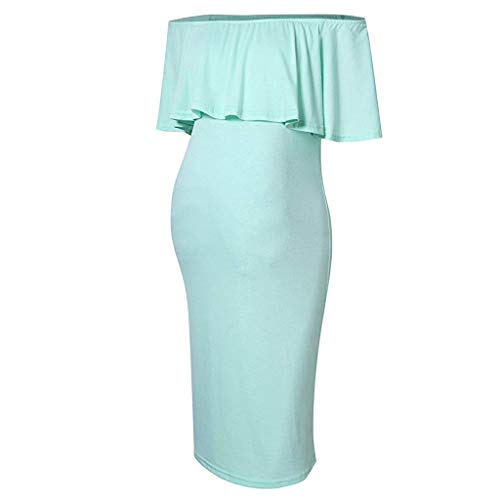 Fenverk Schwangere Frauen Schwanger Kleid Kleid Mutterschaft Kleidung Schwangerschafts Maxikleid Schwangerschaftskleid Damen Schulterfreies Off Schultern Langarm Maxi(Grün,XL)