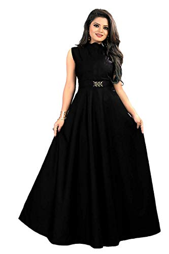 vaidehi creation Women's Twill Tafeta Anarkali Style Gown for Girl (Black)