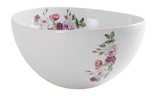 Die Cija Rose Garden Salatschüssel aus Porzellan, Weiß Boch Rose Garden