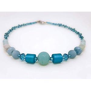 Designer Halskette mit blauem Achat und Morganit Edelstein Perlen