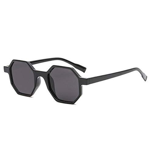 WDDYYBF Sonnenbrillen, Einzigartige Hexagon Sonnenbrille Frauen Männer Vintage Mode Kunststoff Sonnenbrille Kleinen Quadratischen Rahmen Schattierungen Weiblichen Shopping Brillen Uv 400 Schwarz