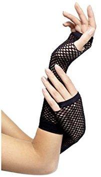 Masqurade Kostüm - 80's Gothic Fischnetz-Handschuhe fingerlos lang schwarz