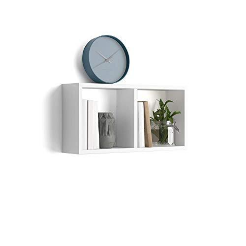 Mobili fiver, cubo da parete, first, bianco lucido, 59 x 14,5 x 30 cm, nobilitato, made in italy