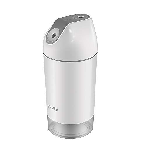 HandFan Humidificador de Vapor con humidificador de Aire con humidificador Ultra silencioso humedecedor de batería con luz de Noche led para el Dormitorio Oficina de Viaje (Gris)